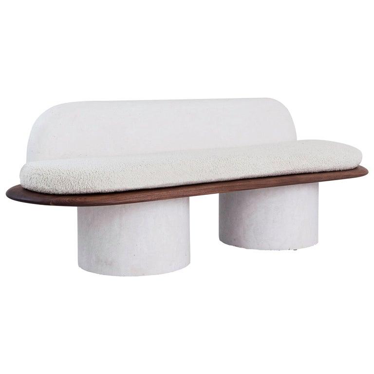Plaster and Black Walnut Pillar Sofa with Bouclé Upholstery by Jackrabbit Studio For Sale