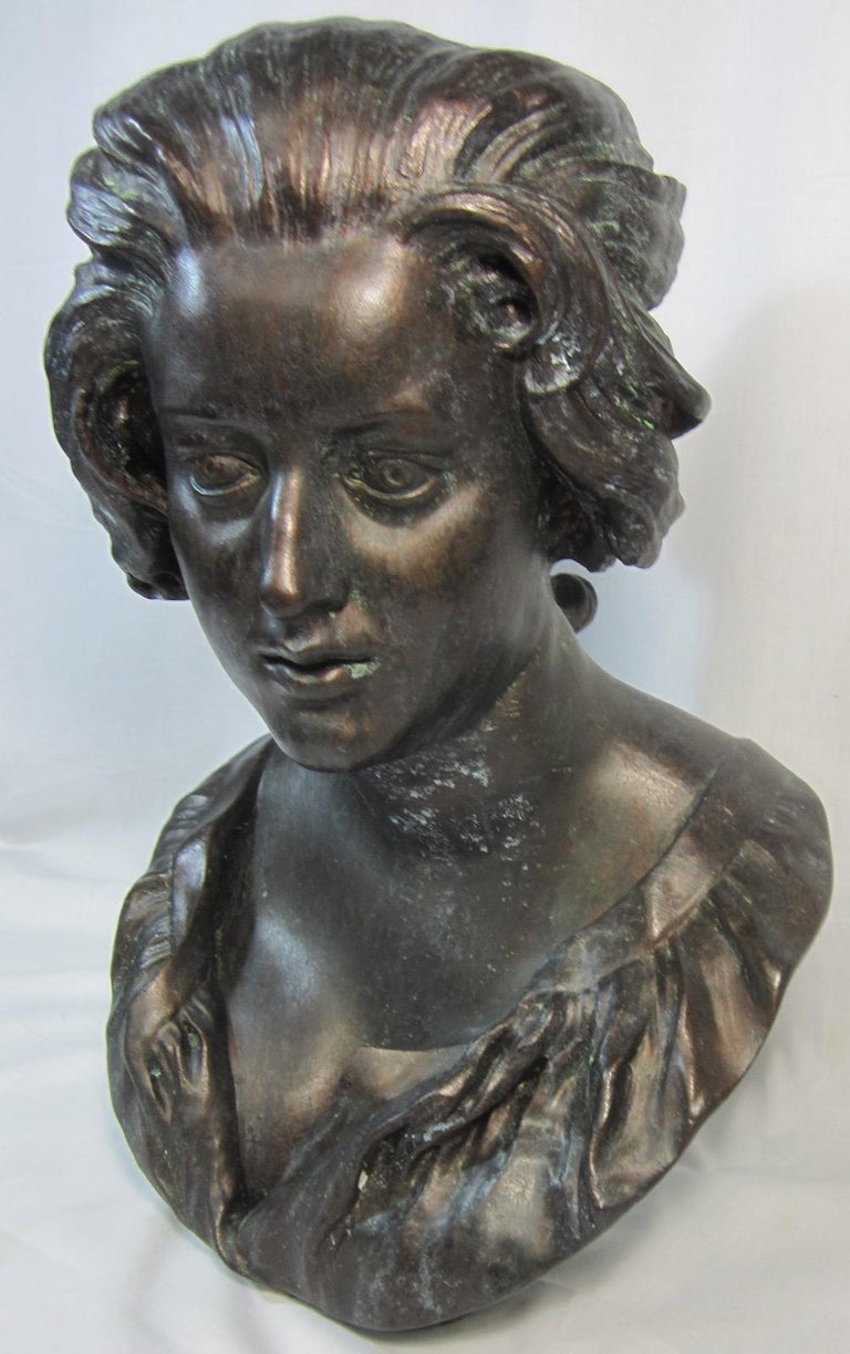 Plaster bust, Costanza after Benini, by Australian Sculptor Nick Leavy with a painted bronze finish. The original bust of Costanza Bonarelli is a marble portrait sculpture by the Italian artist Gian Lorenzo Bernini, created in the 1630s. It is