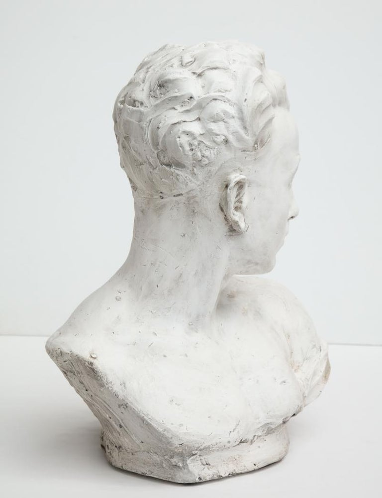 Mid-20th Century Plaster Bust of a Man For Sale