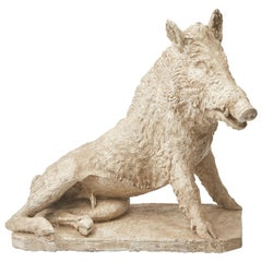 Plaster Cast of Seated Wild Boar after Roman Original