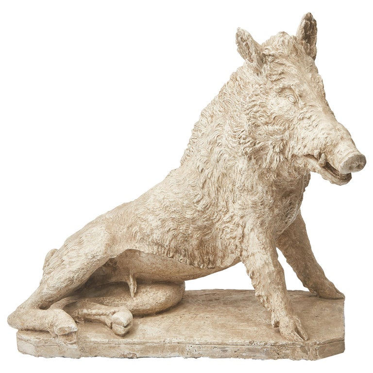 Plaster Cast of Seated Wild Boar after Roman Original For Sale
