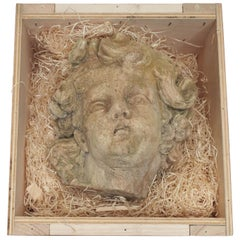 Plaster Cherub Face, French, Late 19th Century