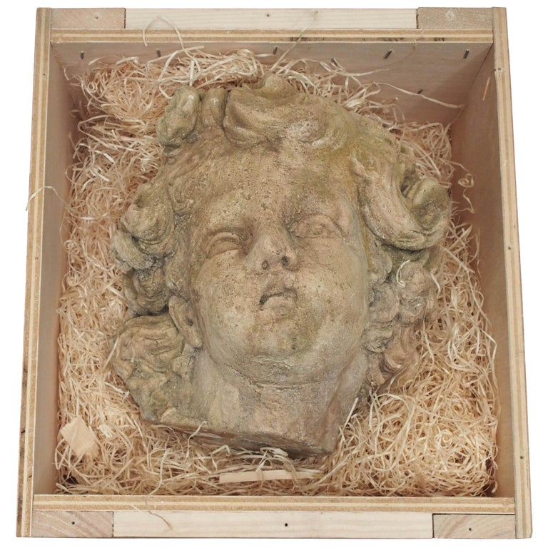 Plaster Cherub Face, French, Late 19th Century For Sale