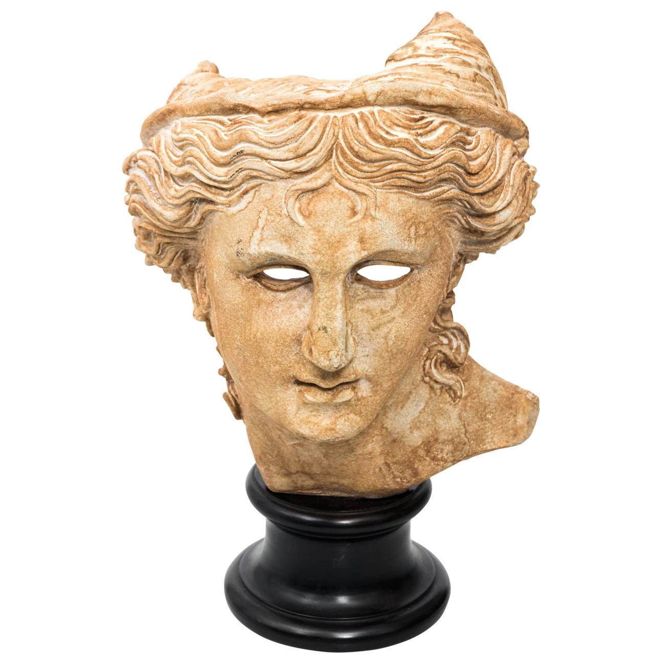 Plaster Classical Bust Relief on Base