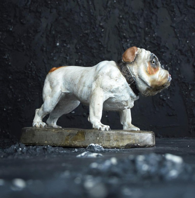 Hand-Crafted Plaster English Bull Dog Statue For Sale