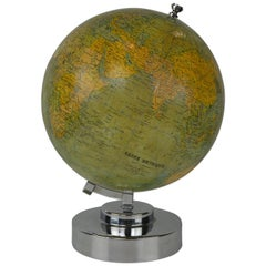 Plaster Globe Metrique on Chrome Base, G.Thomas Paris, E.Bertaux, France