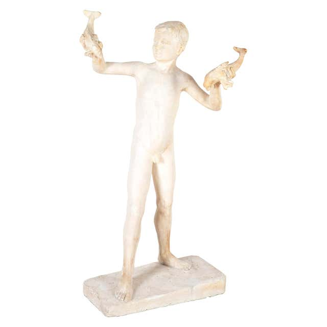 Plaster Maquette Sculpture of a Young Boy For Sale at 1stDibs