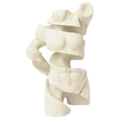 Plaster of Paris and Mixed-Media Fragmented Abstract Torso Sculpture