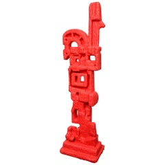 Plaster of Paris and Resin Red Abstract TOTEM Floor Sculpture