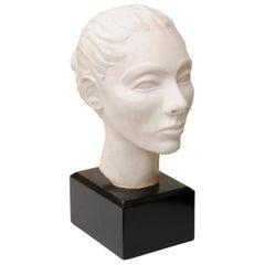 Plaster of Paris Italian Head Bust Sculpture with Black Wood Base Vintage
