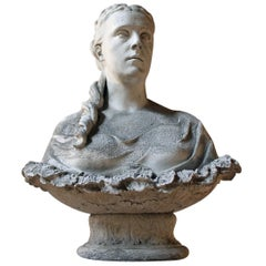 Plaster Portrait Bust of a Maiden in the Style of Clytie, circa 1870-1900