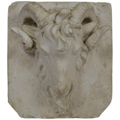Plaster Ram Head Sculpture