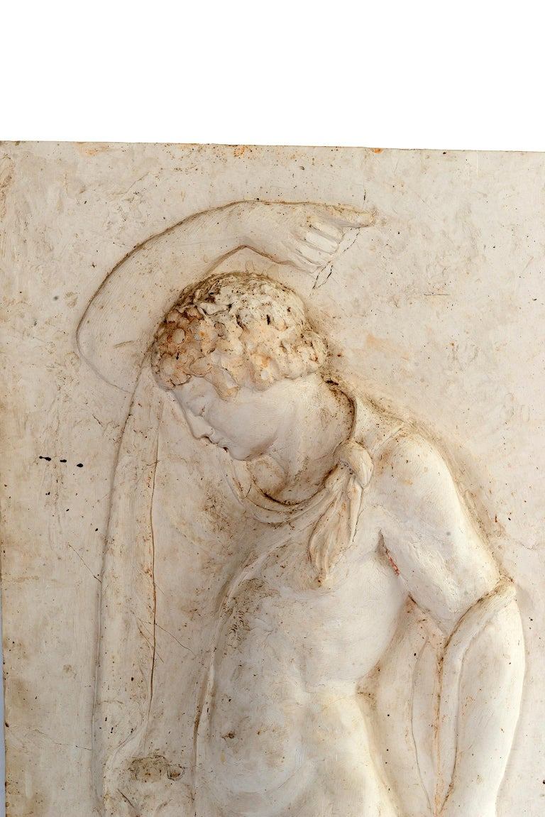 Hand molded plaster relief panel of a Vatican Faun.