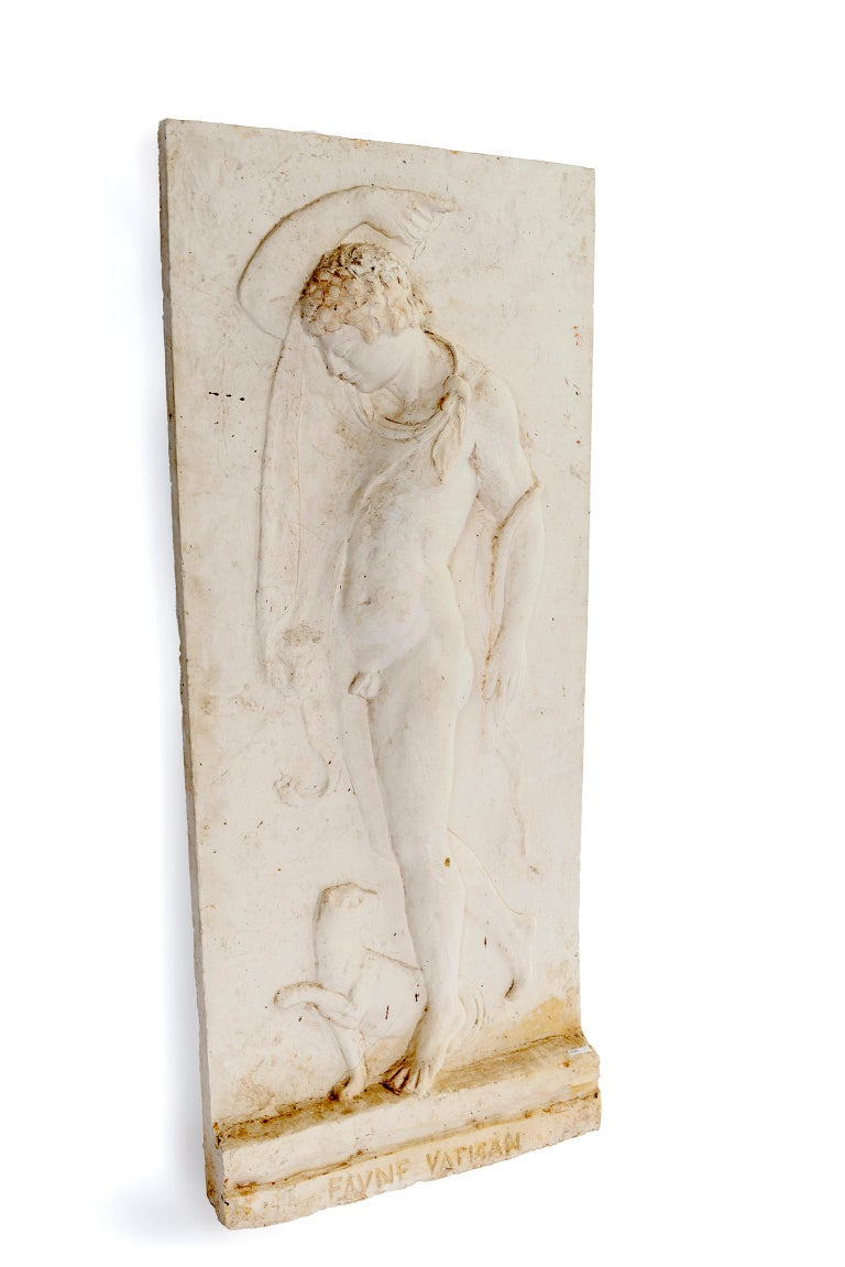 Hand-Crafted Plaster Relief of a Vatican Faun For Sale