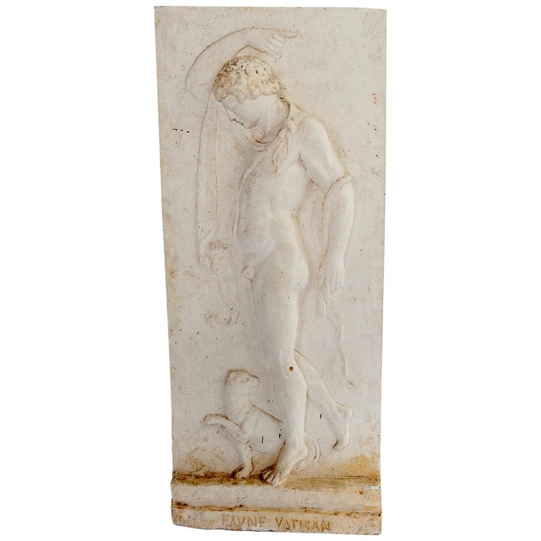 Plaster Relief of a Vatican Faun For Sale