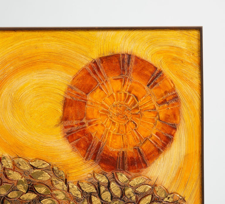 Mid-Century Modern Plaster Relief Painting of Landscape with Gold Leaf Detail For Sale