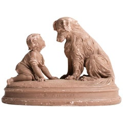 Plaster Sculpture of Boy with Dog, American, 20th Century