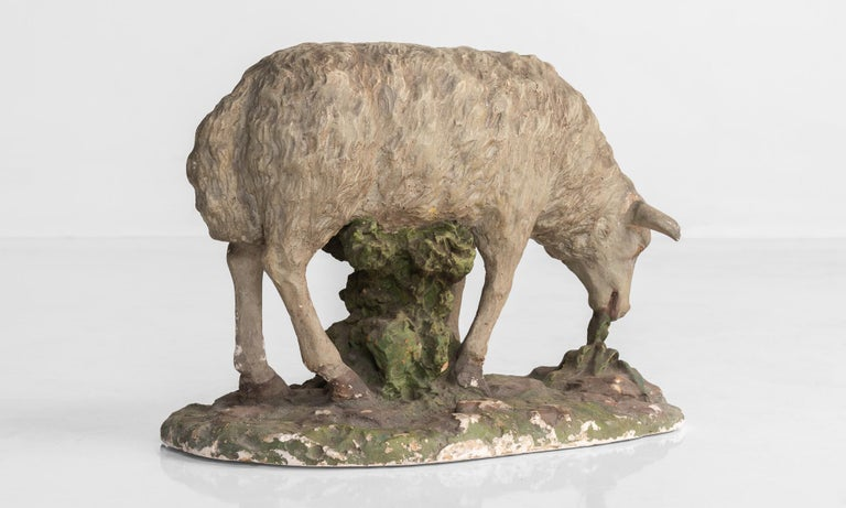 French Plaster Sculpture of Sheep, circa 1950 For Sale