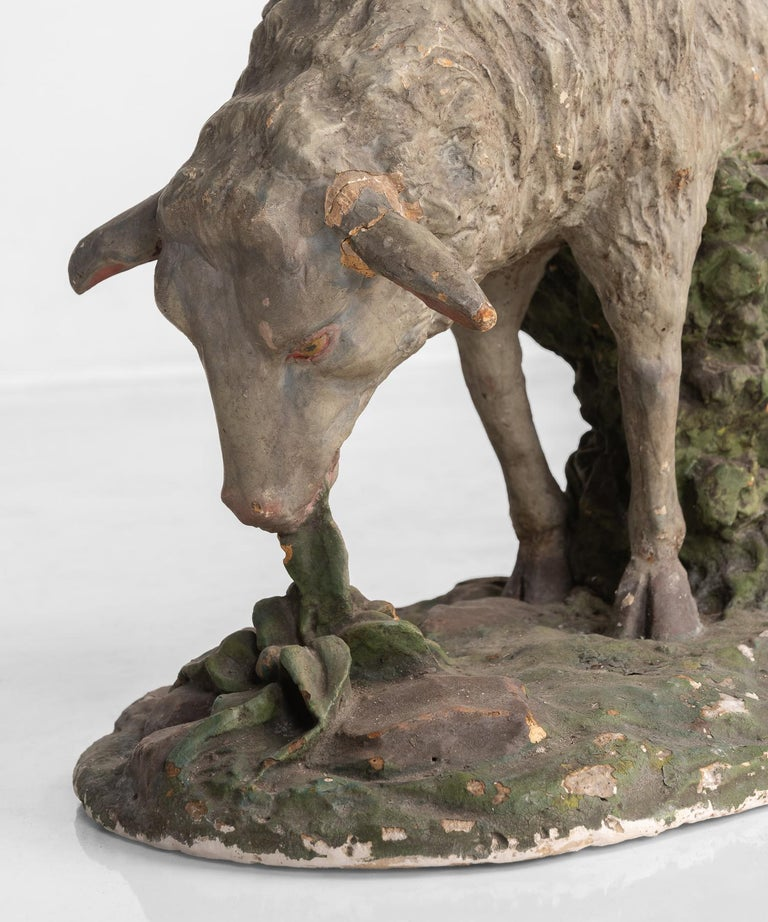 Cast Plaster Sculpture of Sheep, circa 1950 For Sale