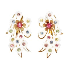 Plastic Flower Ear Climber Earrings With Pastel Rhinestones By Emmons, 1960s