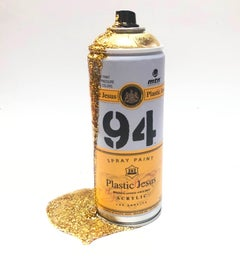 """PARTY! - Glitter Gold"" Custom Spray Cans Limited Edition Mixed Media Art"
