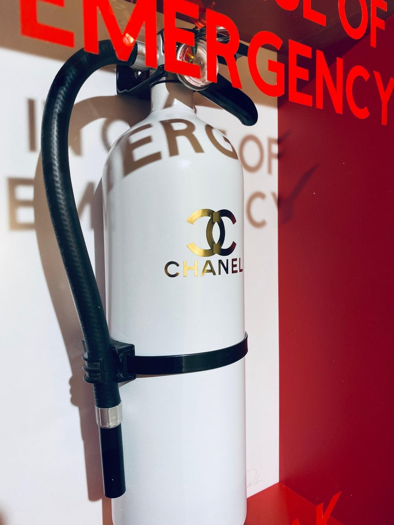 Bespoke Metal bodied fire extinguisher in deep glass fronted case. Mixed media, Edition of 10. Easy wall mount with French cleat.  Plastic Jesus: Born : London (United Kingdom) Current Location: Los Angeles    Huffington Post - Best street art of
