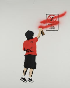"""Graffiti is a Crime"" - RED stencil acrylic on canvas"