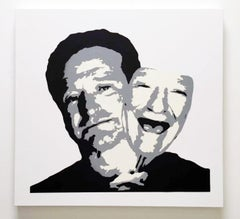"""""""Robin Williams behind the Mask"""" - stenciled acrylic spray on cotton canvas"""
