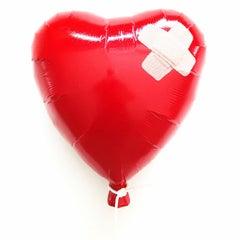 """Glitter Balloon Red Bandaged"" – Deep Acrylic Glittered Cast Wall Mount Small"