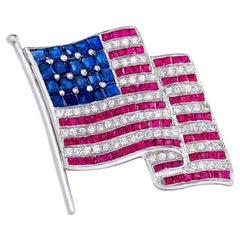 "Plat 1"" American Flag Brooch, .85Ct. Diamond, 1.75 Carat Ruby & 1.88Ct. Sapphire"