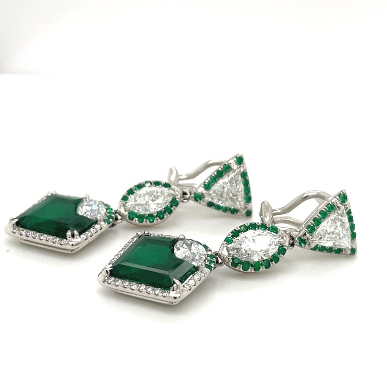 Marquise Cut Plat/18kt Gold, 6.74ct. Gem Quality, Heart Emerald & 11.31ct. Diamond Earrings For Sale