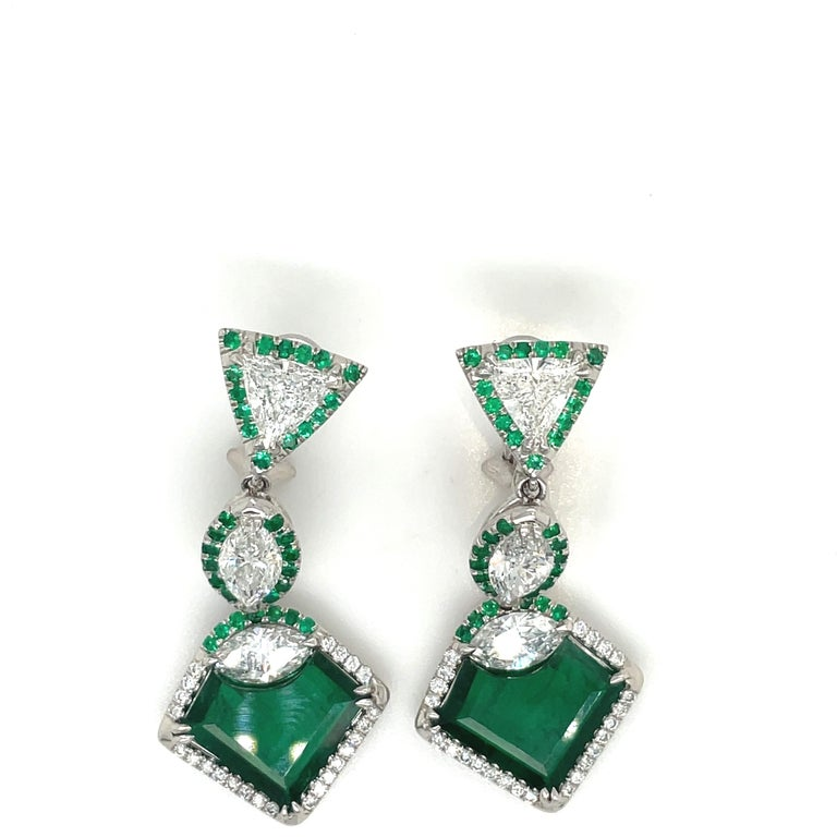 Plat/18kt Gold, 6.74ct. Gem Quality, Heart Emerald & 11.31ct. Diamond Earrings For Sale 2