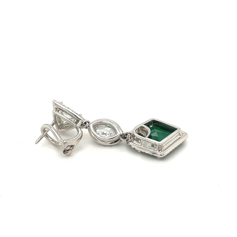 Plat/18kt Gold, 6.74ct. Gem Quality, Heart Emerald & 11.31ct. Diamond Earrings For Sale 3