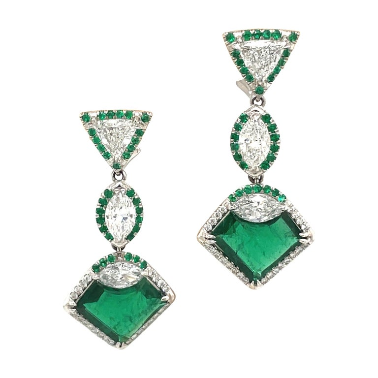 Plat/18kt Gold, 6.74ct. Gem Quality, Heart Emerald & 11.31ct. Diamond Earrings For Sale
