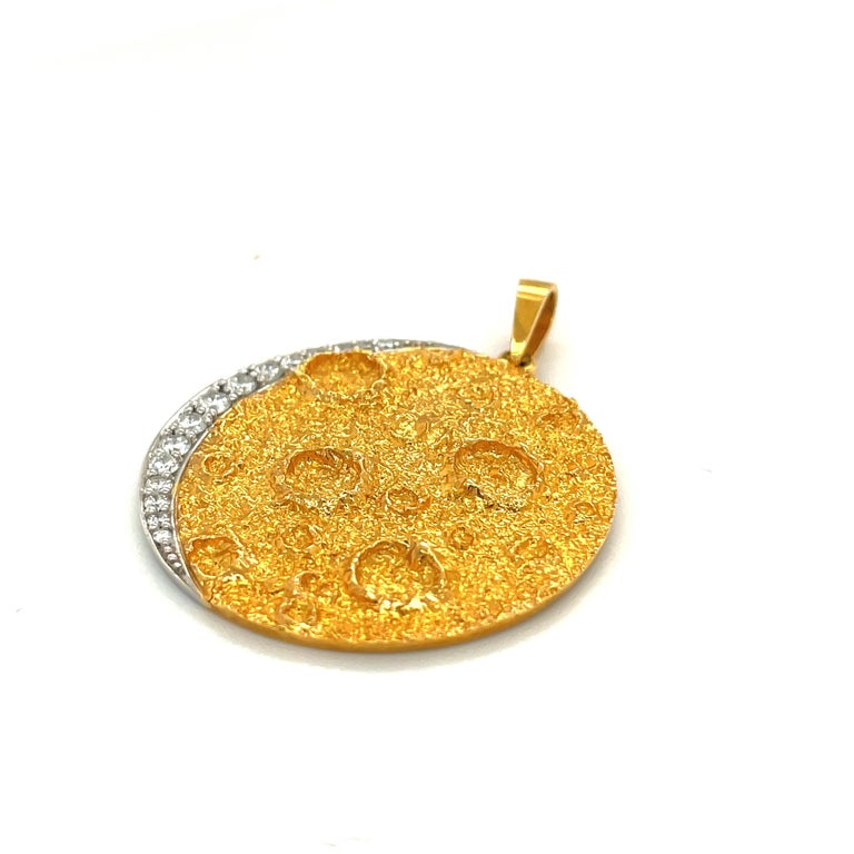 Retro Plat /18kt Yellow Gold Diamond .45ct. Moon Pendant For Sale