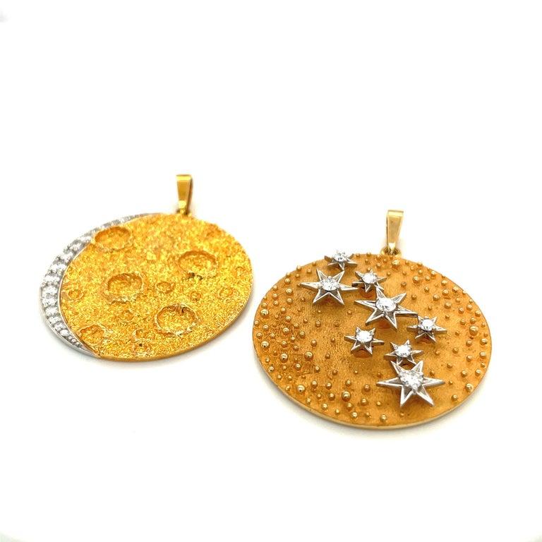 Round Cut Plat /18kt Yellow Gold Diamond .45ct. Moon Pendant For Sale