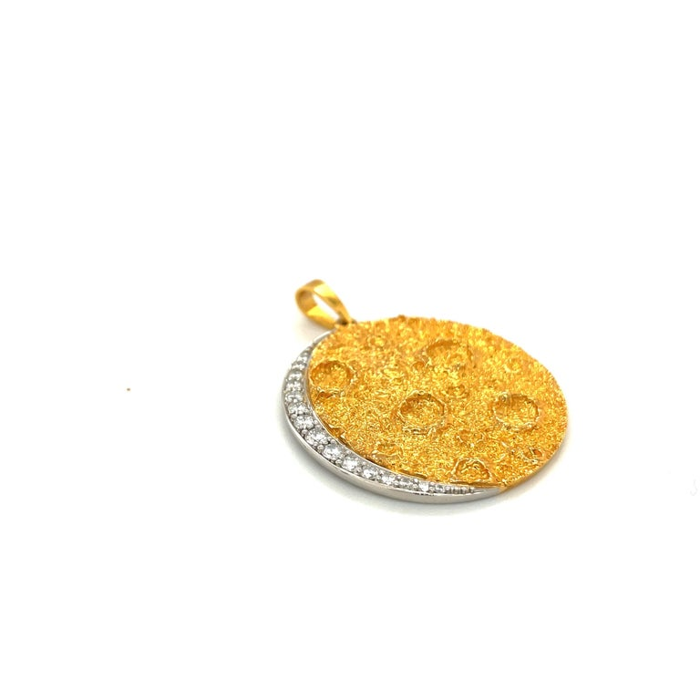 Plat /18kt Yellow Gold Diamond .45ct. Moon Pendant In New Condition For Sale In New York, NY