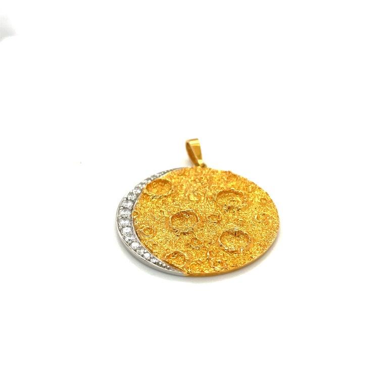 Women's or Men's Plat /18kt Yellow Gold Diamond .45ct. Moon Pendant For Sale