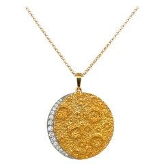 Plat /18kt Yellow Gold Diamond .45ct. Moon Pendant