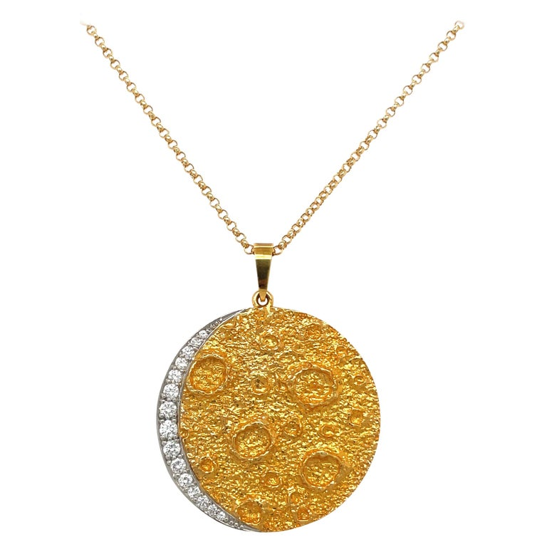 Plat /18kt Yellow Gold Diamond .45ct. Moon Pendant For Sale