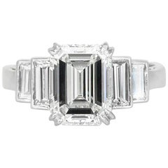 Plat Emerald Cut GIA Center Diamond with Baguette Cut on Side