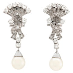 Plat Hand Held Fan with Pearl and Diamond Drop Earring
