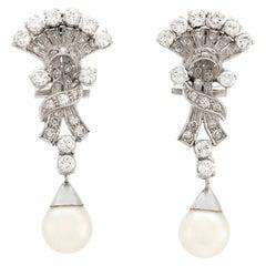 2.30 Carat Diamonds with Pearls Platinum Drop Earrings