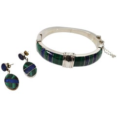 Plata Sterling Silver Natural Lapis Malachite Bracelet and Earring Set