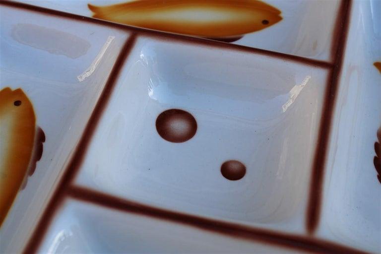 Italian Plate Ceramic Galvani Pordenone Angelo Simonetto Futuristic Design 1930s Fish For Sale