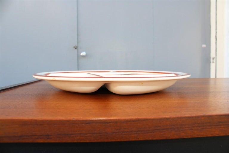 Plate Ceramic Galvani Pordenone Angelo Simonetto Futuristic Design 1930s Fish For Sale 3