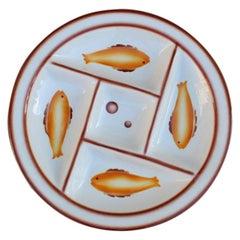 Plate Ceramic Galvani Pordenone Angelo Simonetto Futuristic Design 1930s Fish