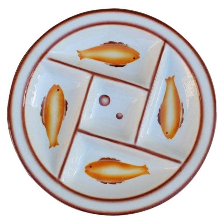 Plate Ceramic Galvani Pordenone Angelo Simonetto Futuristic Design 1930s Fish For Sale