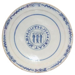 Plate Delftware, Inscribed 1744, Dutch, Great Yarmouth, Blue and White, Herring