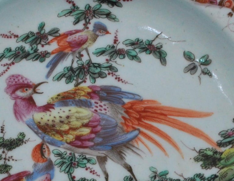Chinoiserie Plate Disheveled Birds, Bow Porcelain Factory, circa 1767 For Sale